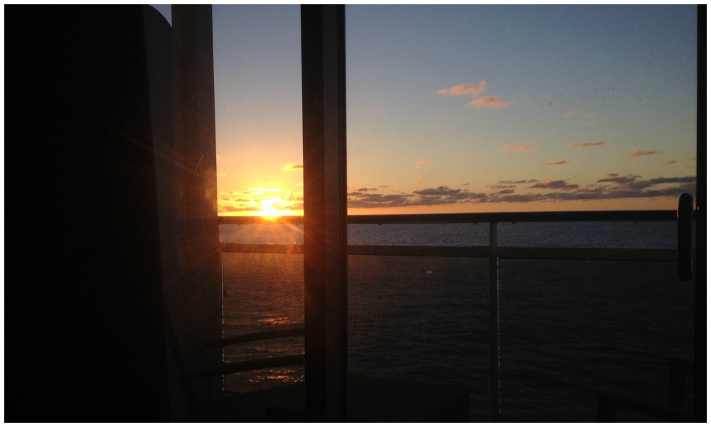 Sunset view from the bed through the cabin windows