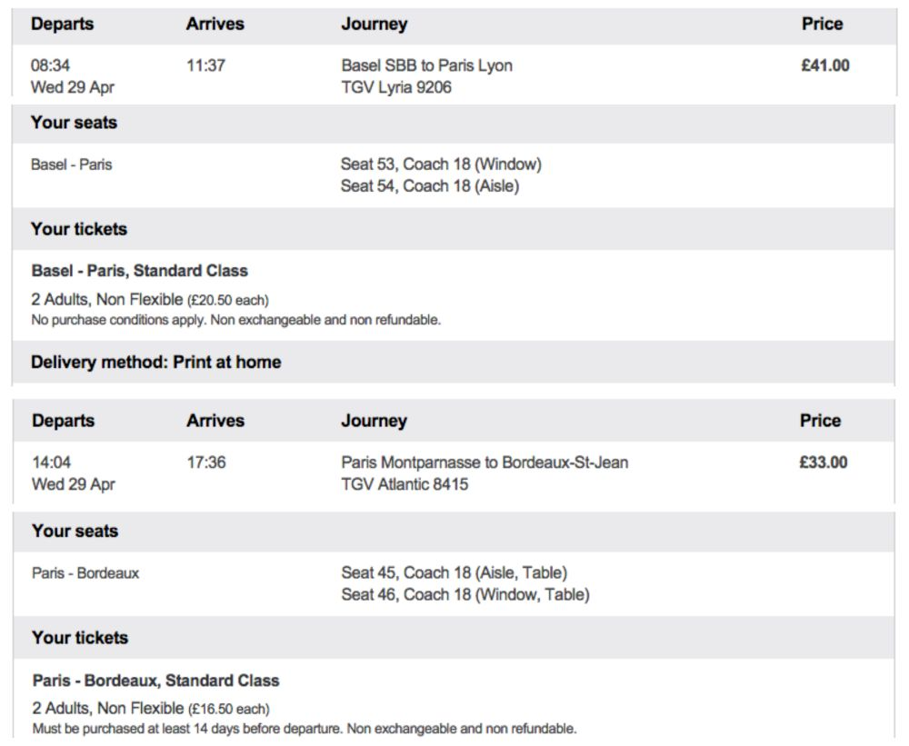 TGV ticket price Basel to Bordeaux