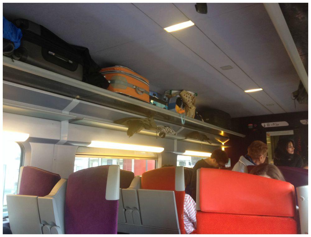 TGV train inside, luggage rack & colourful seats
