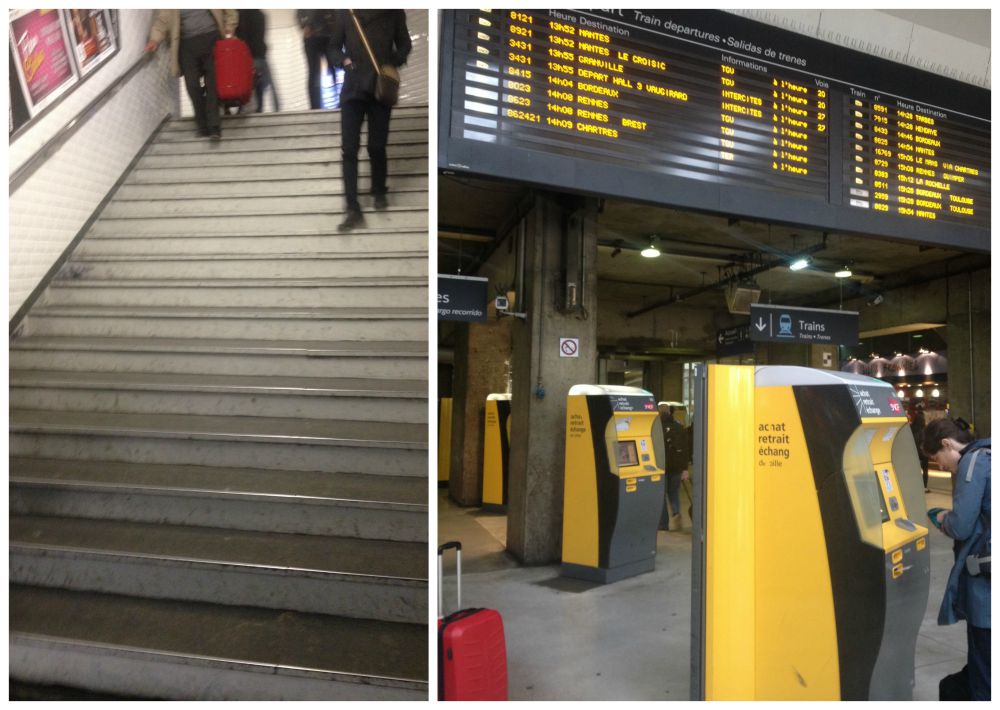 The subway stairs and ticket machines at Paris station
