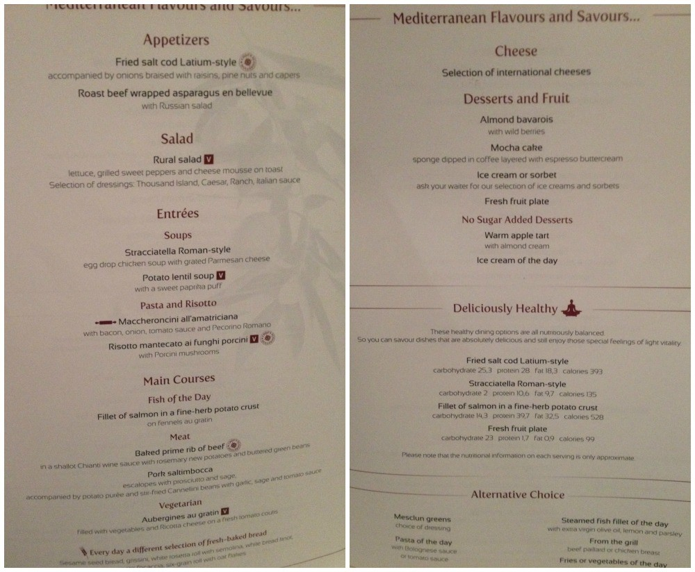 Tonights dinner menu in the dining room on MSC Magnifica