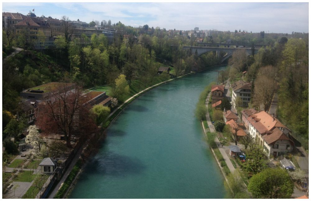 Views from one of the bridges in Bern over the Aare river