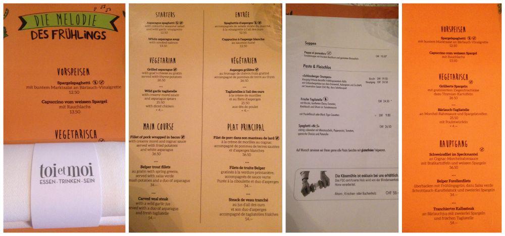 toi & moi menu in Bern
