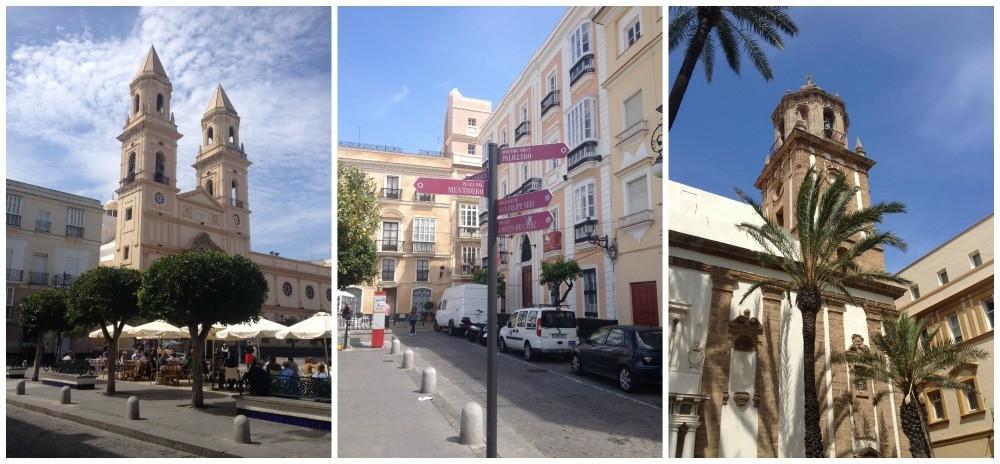 Cadiz architecture - Plaza de San Antonio and church & Cádiz Cathedral