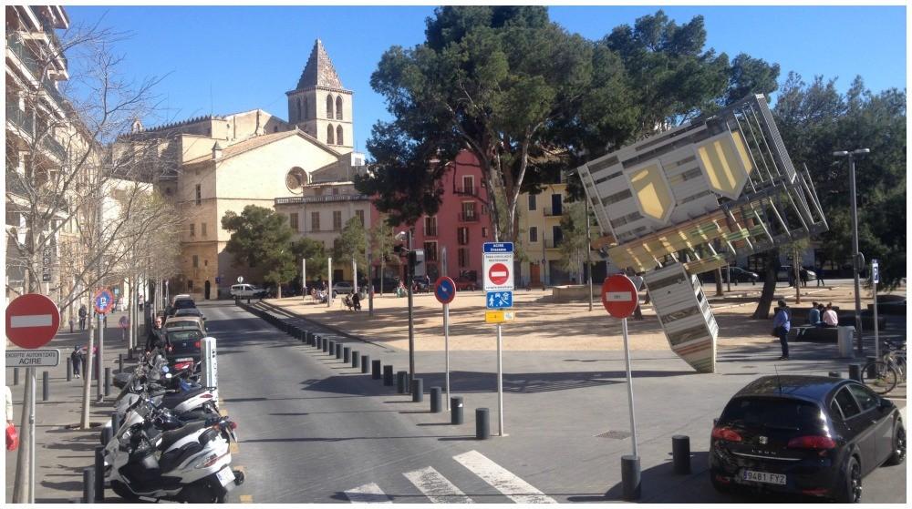 Church on its steeple in Mallorca