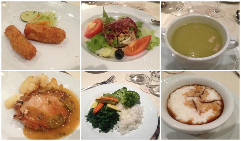 Cruise ship dinner meals in Quattro Venti restaurant on MSC Magnifica