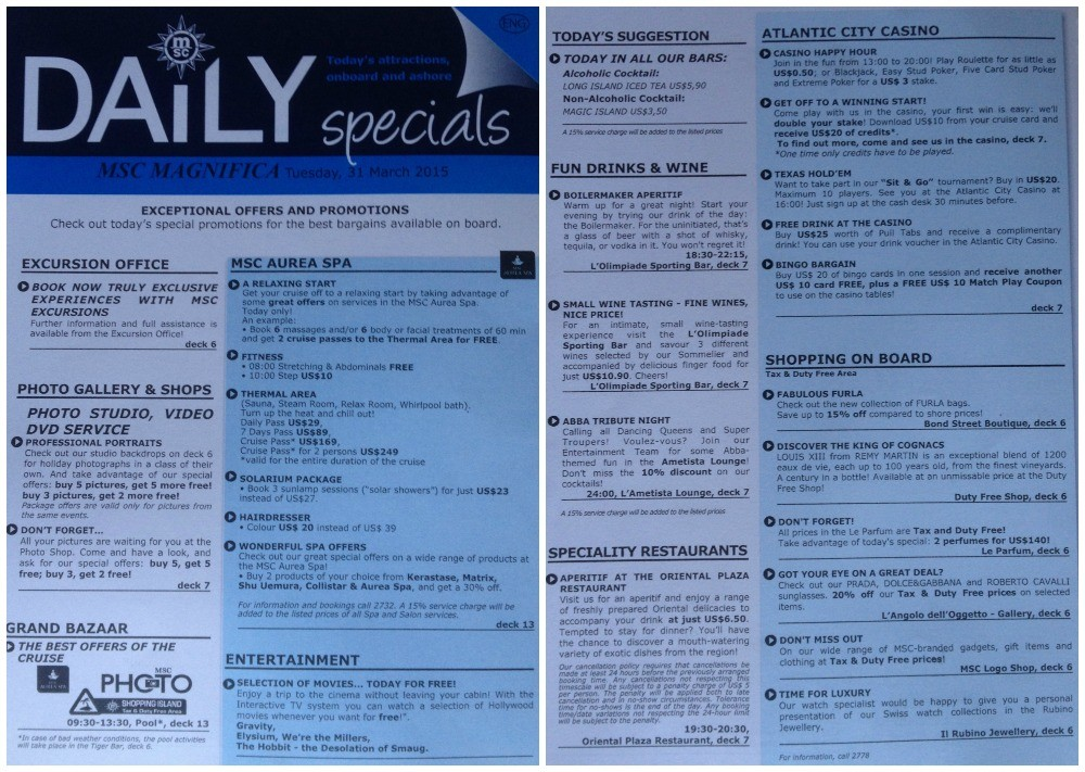 Daily specials flyer on MSC Magnifica 2015