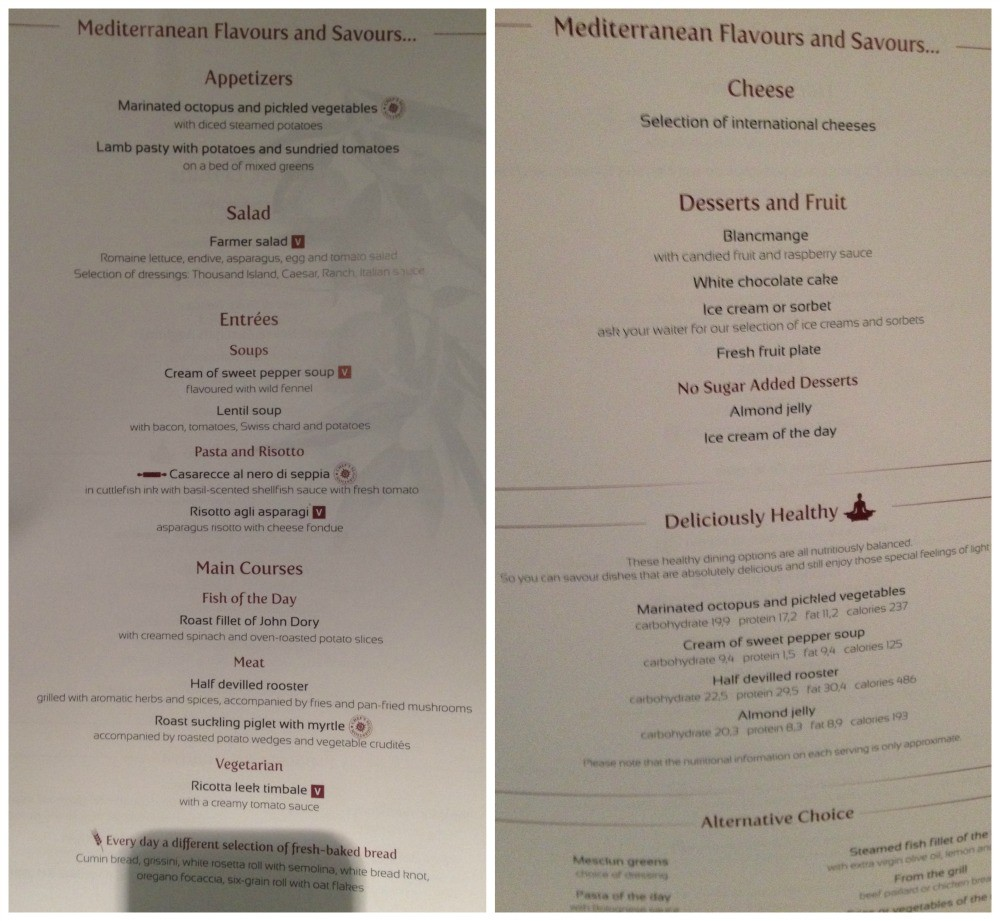 Dinner menu 31 March 2015 MSC Magnifica