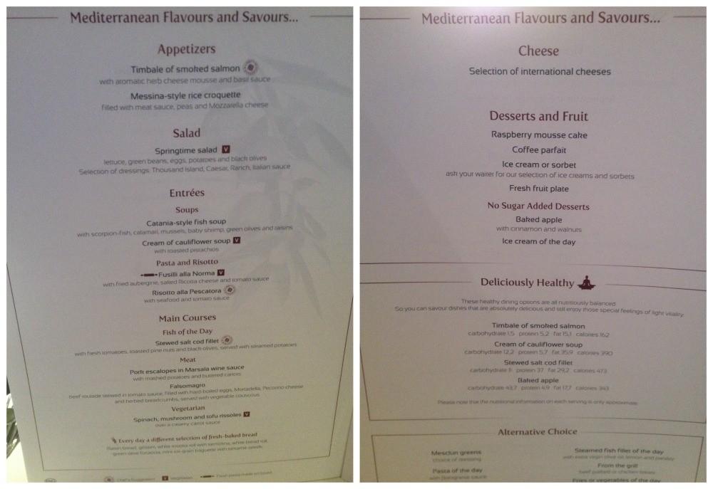 Dinner menu MSC Magnifica 2015