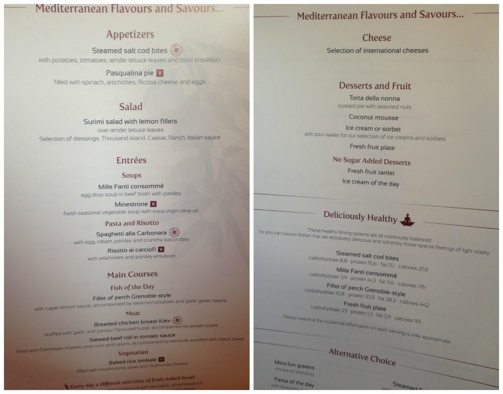 Dinner menu MSC Magnifica