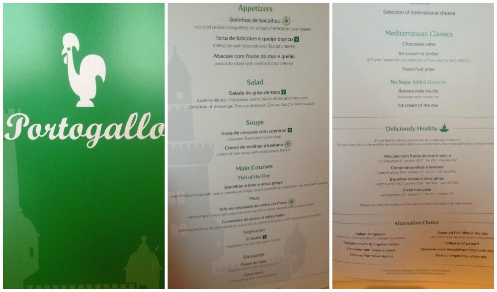 Dinner menu Portogallo theme MSC Magnifica 2015