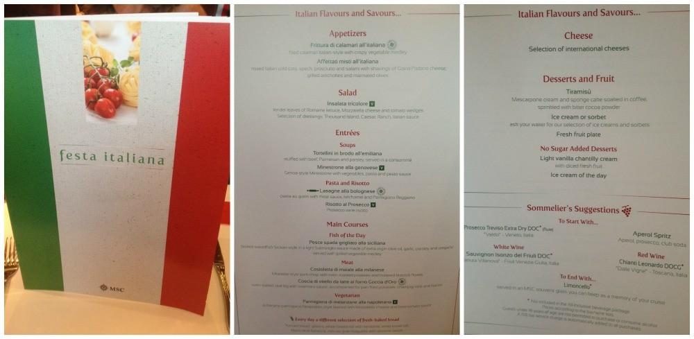 Italian dinner menu MSC Magnifica 2015