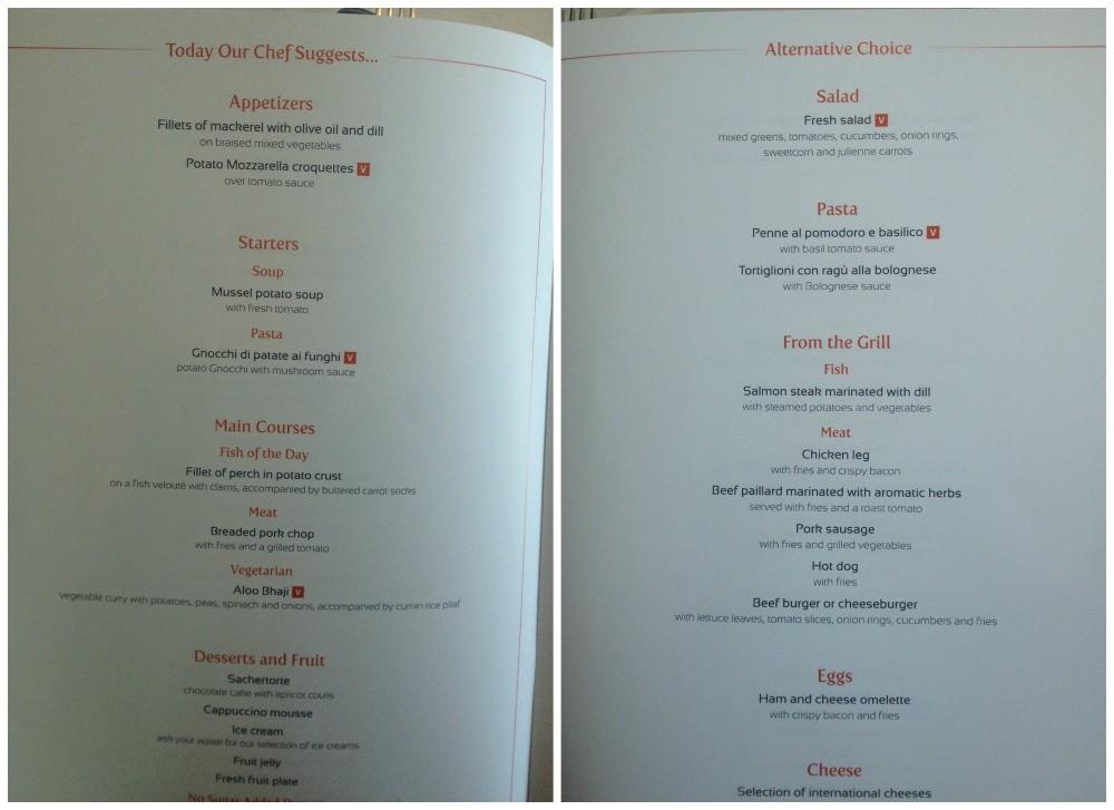 Lunch menu MSC Magnifica 2015