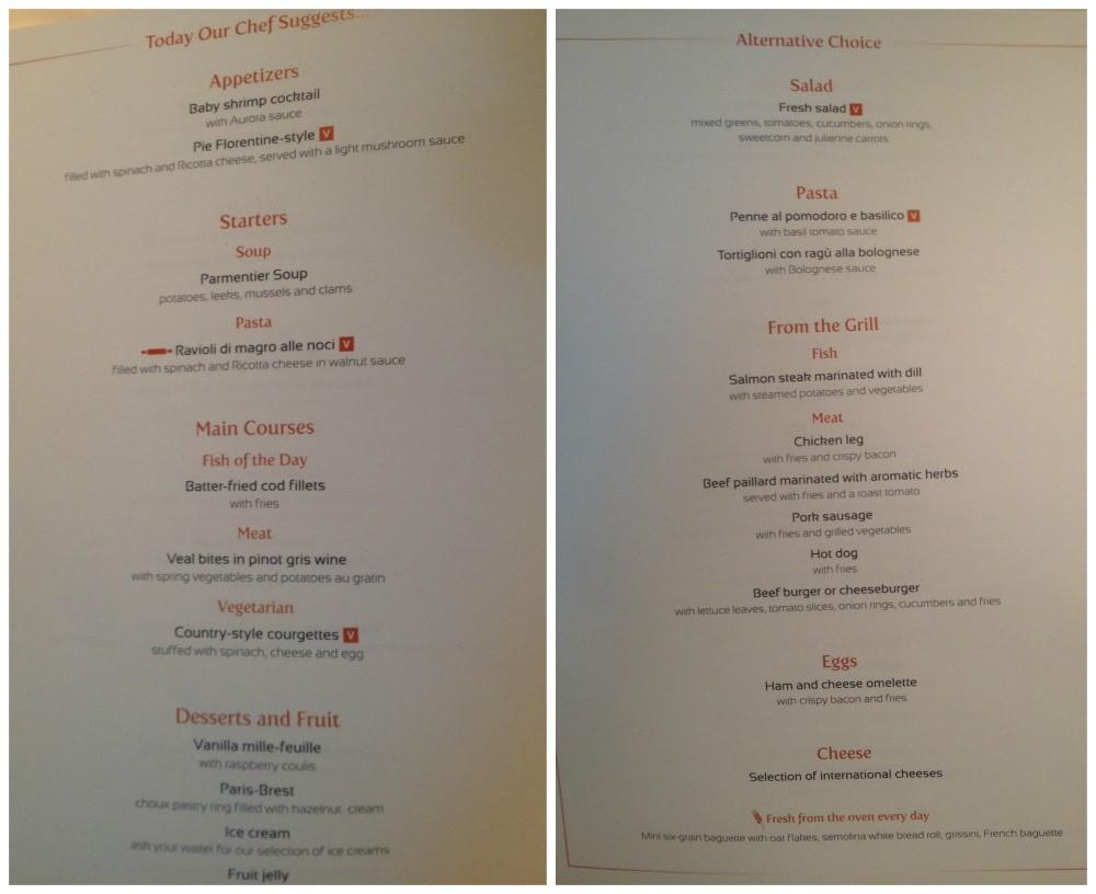Lunch menu on MSC Magnifica 2015