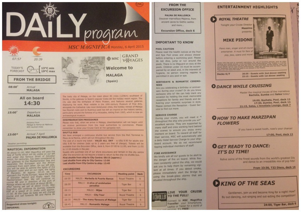 MSC Daily program from Malaga 6th April 2015