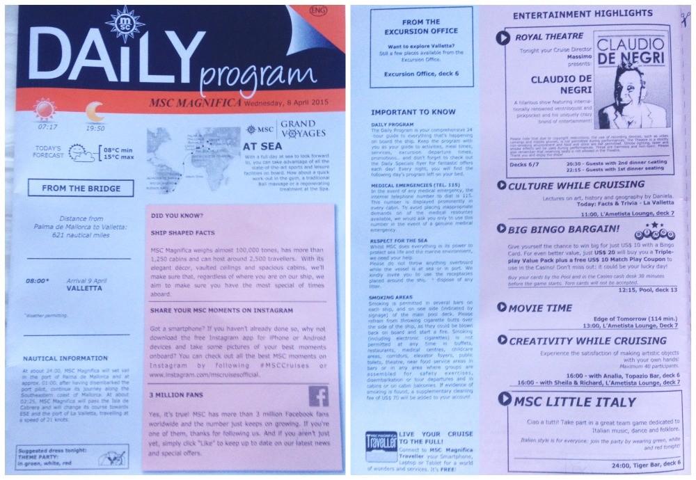 MSC daily program for 8th April 2015