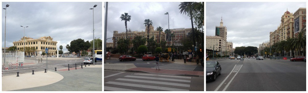 Malaga town (port to the left)