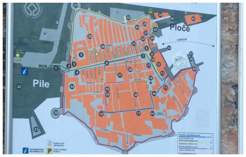 Map of Dubrovnik Old City 2015
