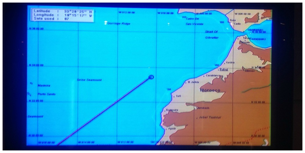 Navigation screen on the tv MSC Magnifica