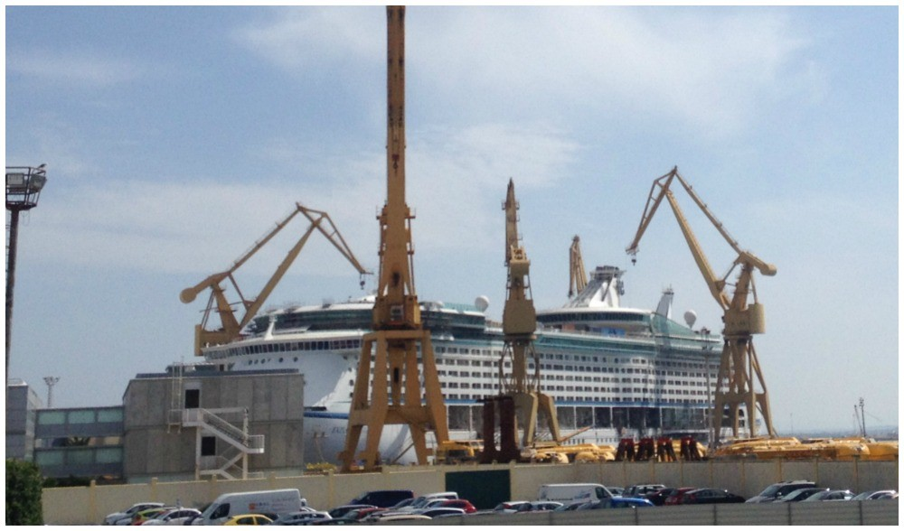 'Explorer of the seas' getting a face lift in Cadiz, Spain 2015