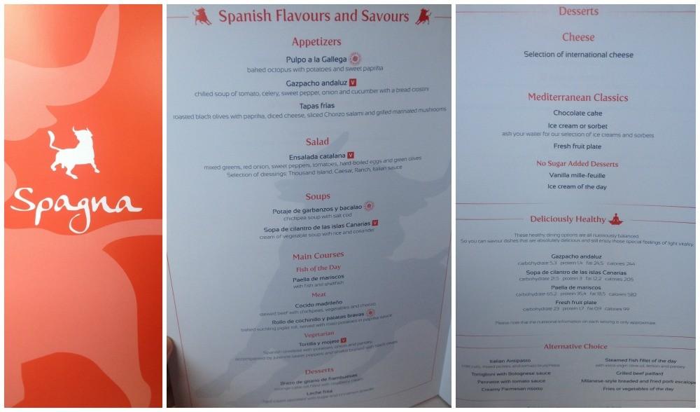 Spanish theme menu on MSC Magnifica 2015