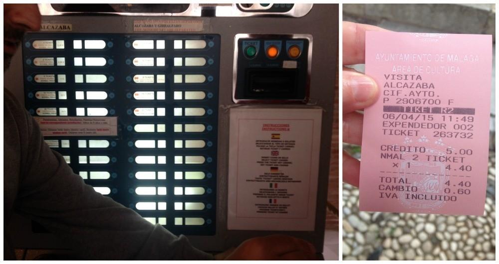 Ticket machine for Alcazaba in Malaga 2015