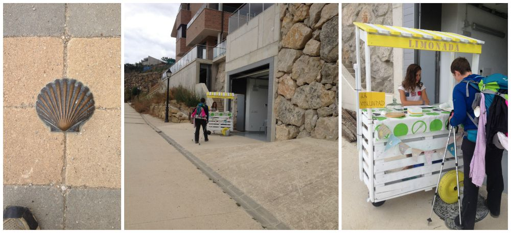 An entrepreneur in the making with her lemonade stand just before Obanos on the Camino 2015