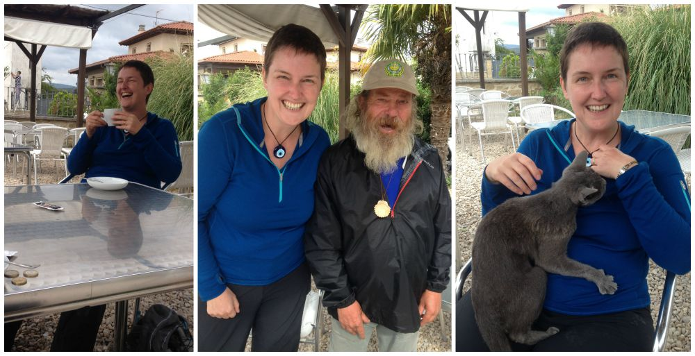 Antonio and Moni, happy with a coffee and a cat on the Camino 2015