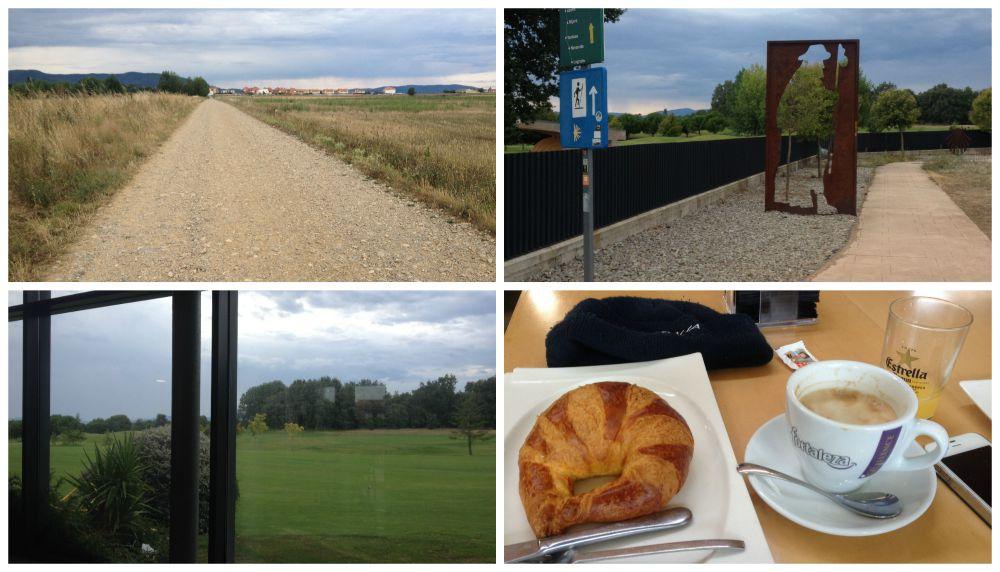 Camino near to Ciruena, pilgrim breakfast at the golf club Rioja Alta