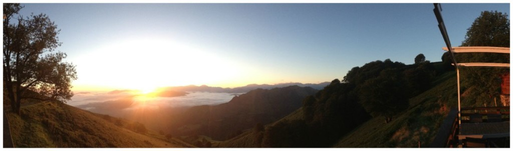 Early morning mountain view from Auberge Orisson on the Camino 2015