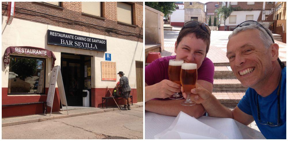 Enjoying our pilgrim lunch at the Bar Sevilla