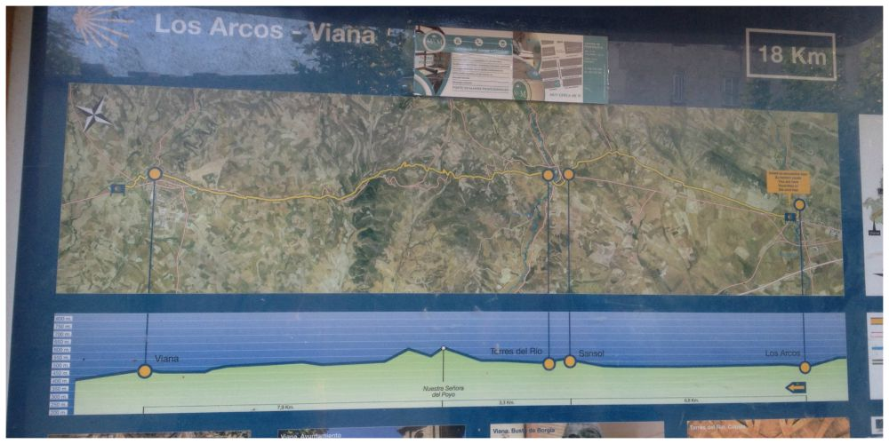 Los Arcos to Viana map on the Camino