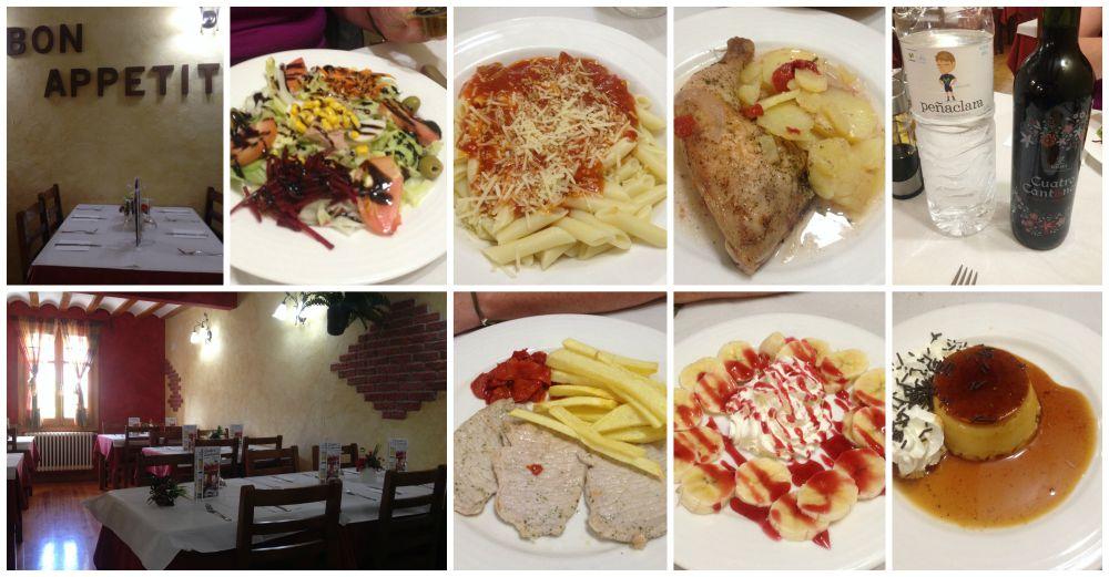Pilgrim dinner in the Albergue Cuatro Cantones Belorado