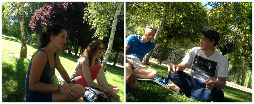 Relaxing in the park by the river in Logroño
