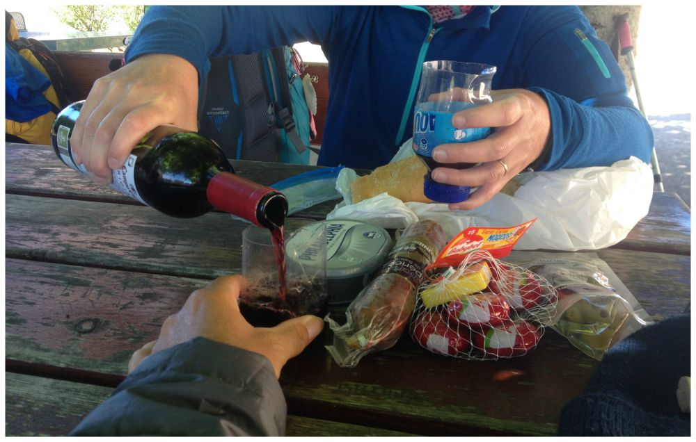 Rioja wine and cut up plastic bottle wine cups for our picnic on the Camino