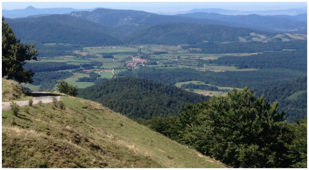 Roncesvalles in the distance on the Camino 2015