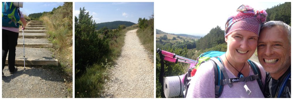 Steps and gravel pathways on the Camino from Zubiri to Pamplona 2015