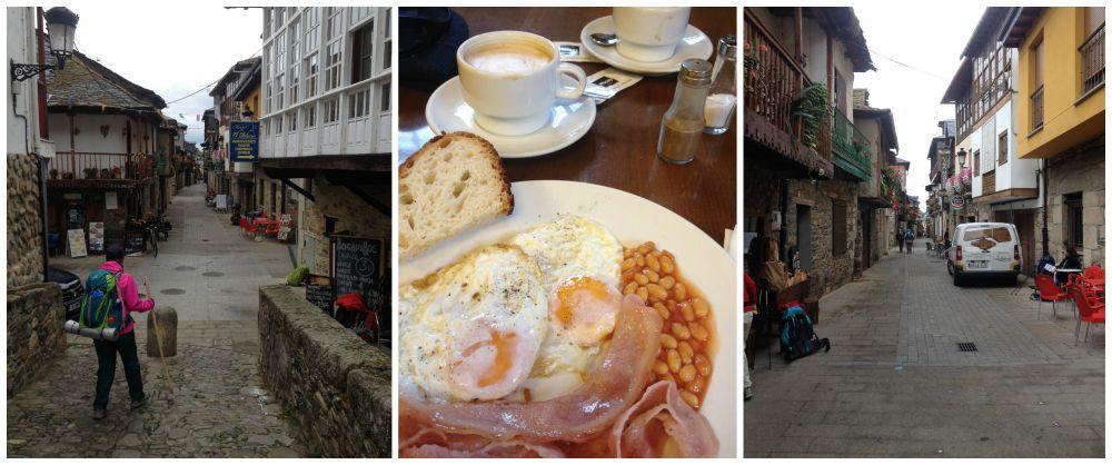 A good breakfast in the restaurant just over the bridge in Molinaseca
