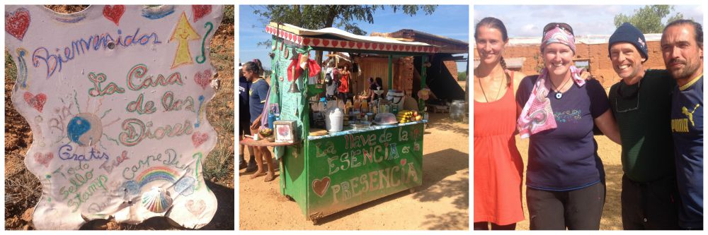 A small stand with many foods and drinks available for donation run by David & Susie