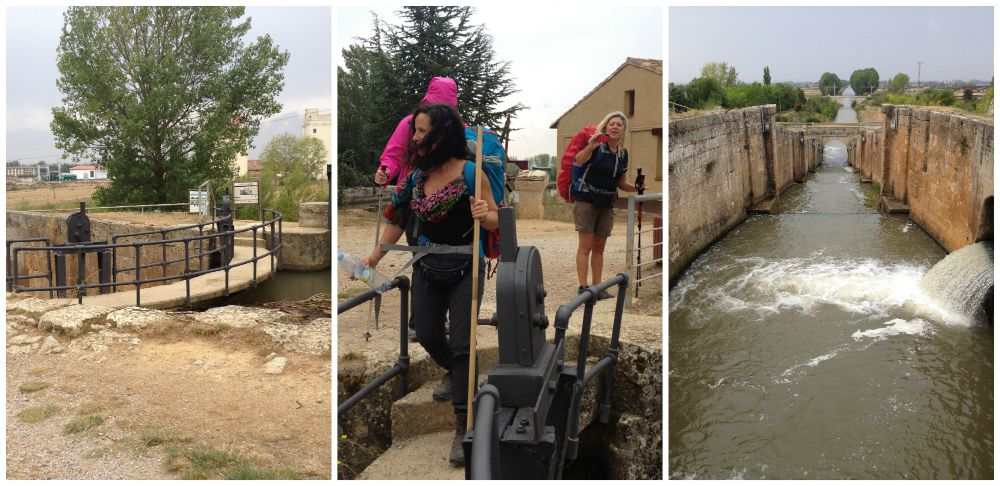 Crossing the canal at Fromista on the Camino