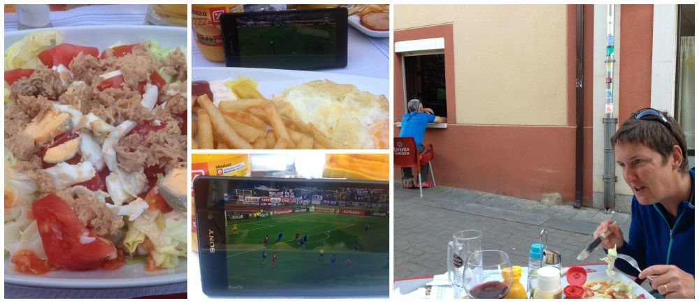 Dinner and watching England on the smartphone and then through the window