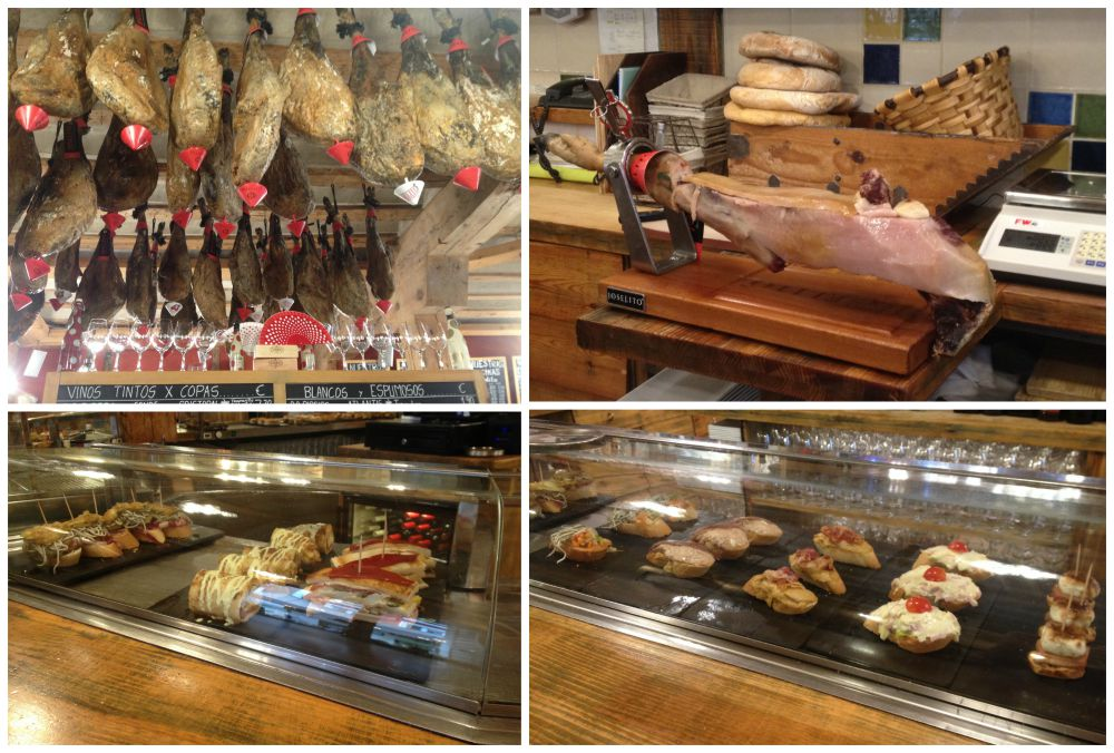 Ibericho ham, Parma ham and small bar tapas, pinchos