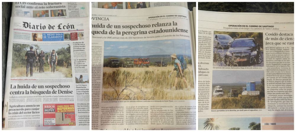 Newspaper from León front page about the Camino