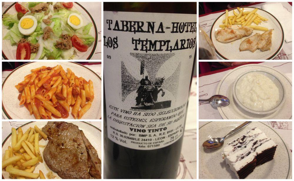 Pilgrim lunch in Ponferrada at the Taberna Hotel Los Templarios