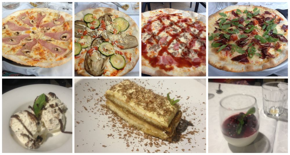 Pizza and desserts