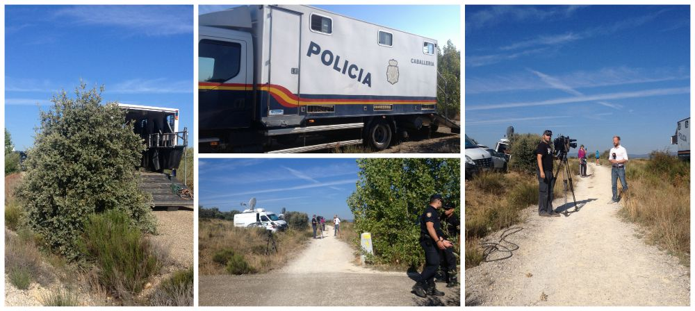 Police, military and reporters on the Camino near Astorga