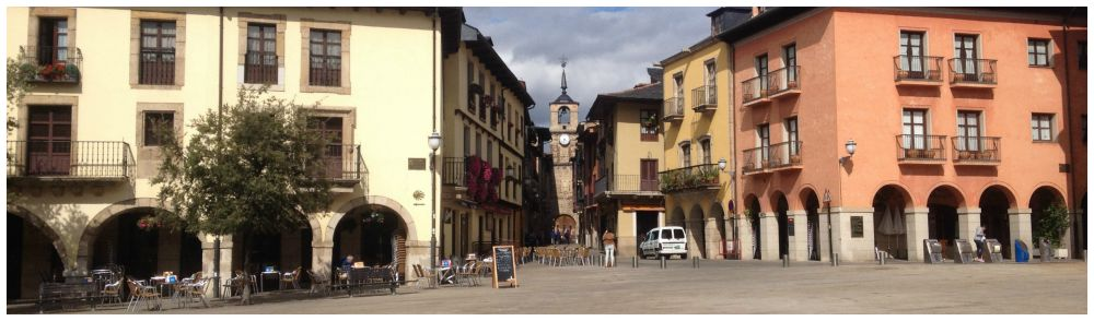 Ponferrada plaza on the Camino