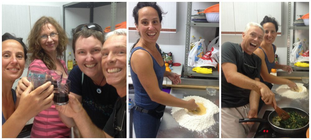 The start of a fun evening making fresh pasta and then raviloi in the Albergue kitchen