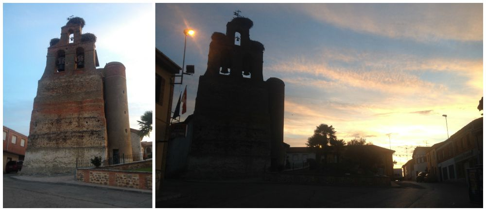 Three huge bird nests on the bell tower in Villar de Mazarife