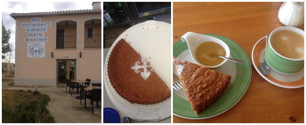 Very nice almond cake here in the Albergue Moratinos